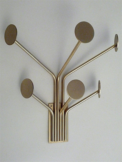 Stumtjener til væg m. 6 knager, børstet messingbelagt metal