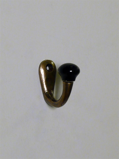 Rustik krog, mørkpatineret messing m. sort porcelænsknop.